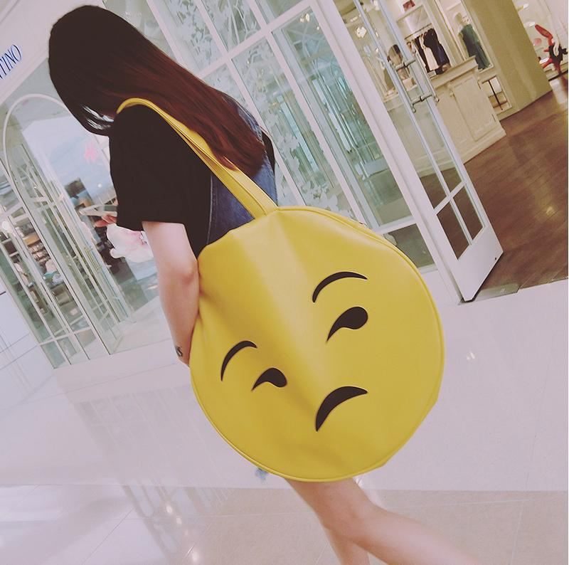 Big bags women's handbag yellow smiley expression package large circle brief one shoulder PU