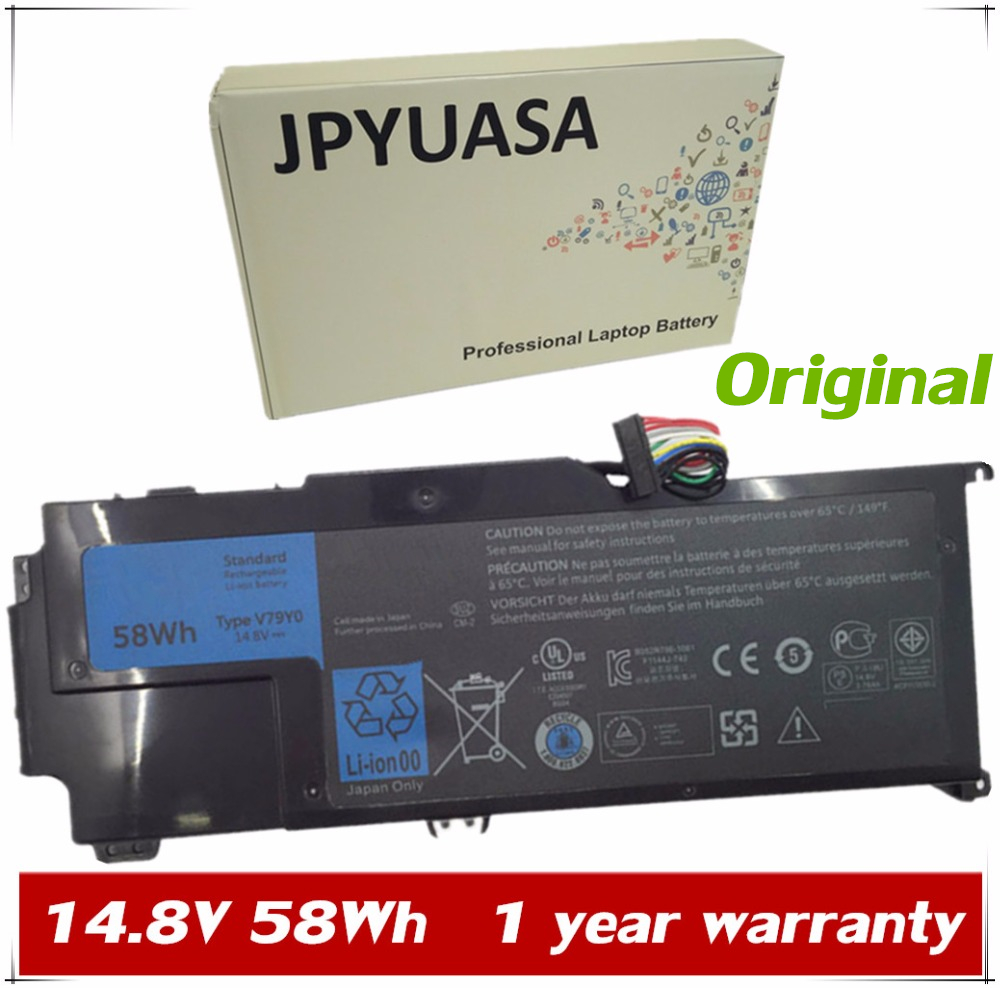 JPYUASA 14.8V 58Wh Original V79Y0 V79YO YMYF6 0YMYF6 Laptop Battery For Dell  XPS L412x L412z