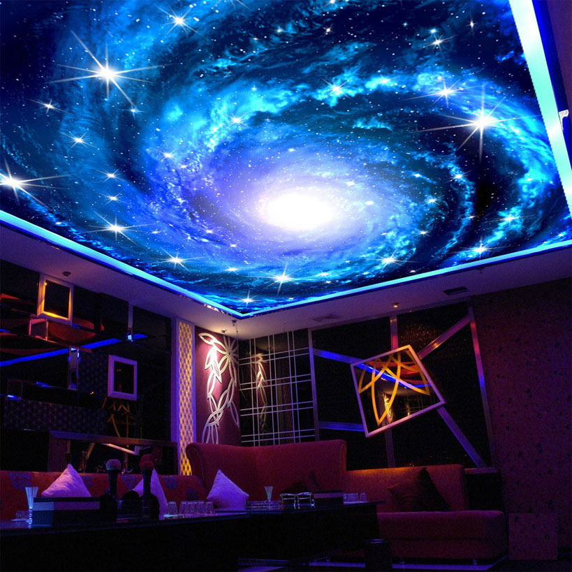Galaxy Nebula Photo Ceiling Wall Mural For Living Room Kids' Room Wall Decor Non-woven Custom Size Shining Stars 3D Wallpaper
