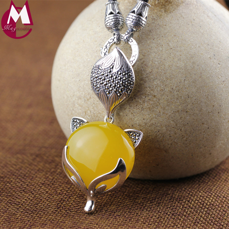 New Arrival 100% 925 Sterling Silver Necklace Pendants For Women Fashion Yellow Chalcedony Jade Pendant Fox Animal Jewelry SP52