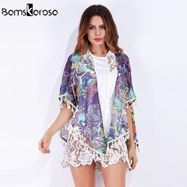 1533e5b4af27 Kimono Cardigan 2018 Summer Bohemian Style Womens Tops And Blouses Tassel  Loose Summer Kimono Boho Hippie Top roupa feminina