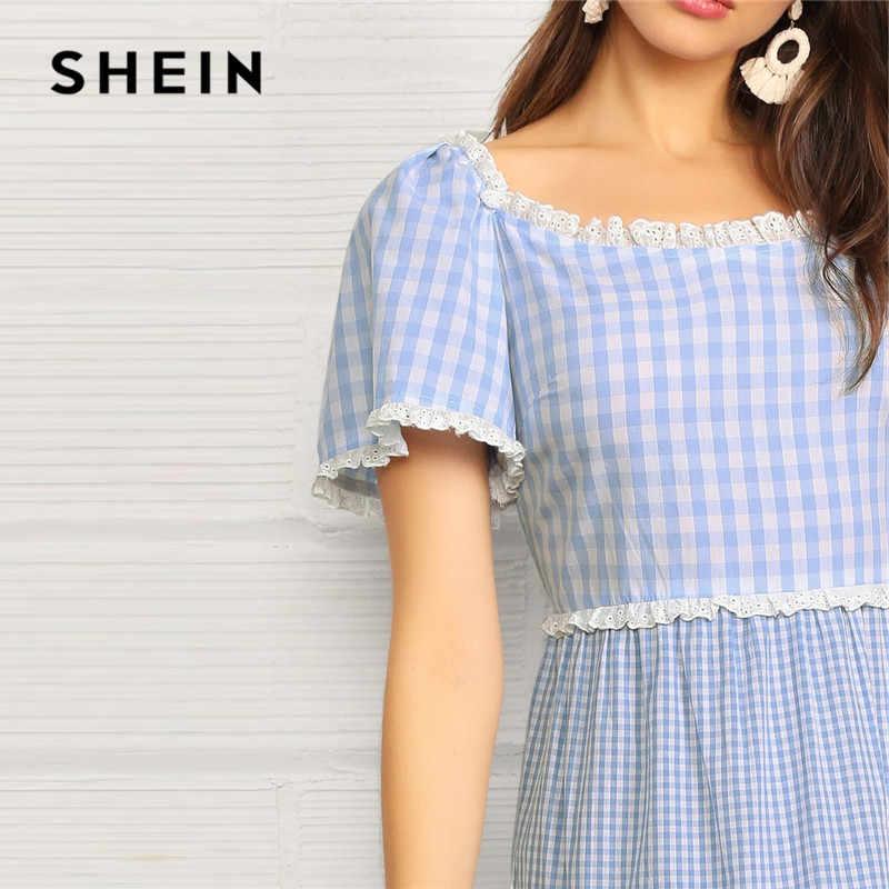 SHEIN синее кружевное многослойное платье в мелкую клетку Макси женское платье Boho из хлопка с пышными рукавами с высокой талией Летнее Длинное Платье трапециевидной формы