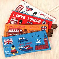 Hot Sale Students Pencil Bag Pen Case Cartoon London Style Zipper Cosmetic Pouch Coin Purse  8CL6 Office & School Supplies