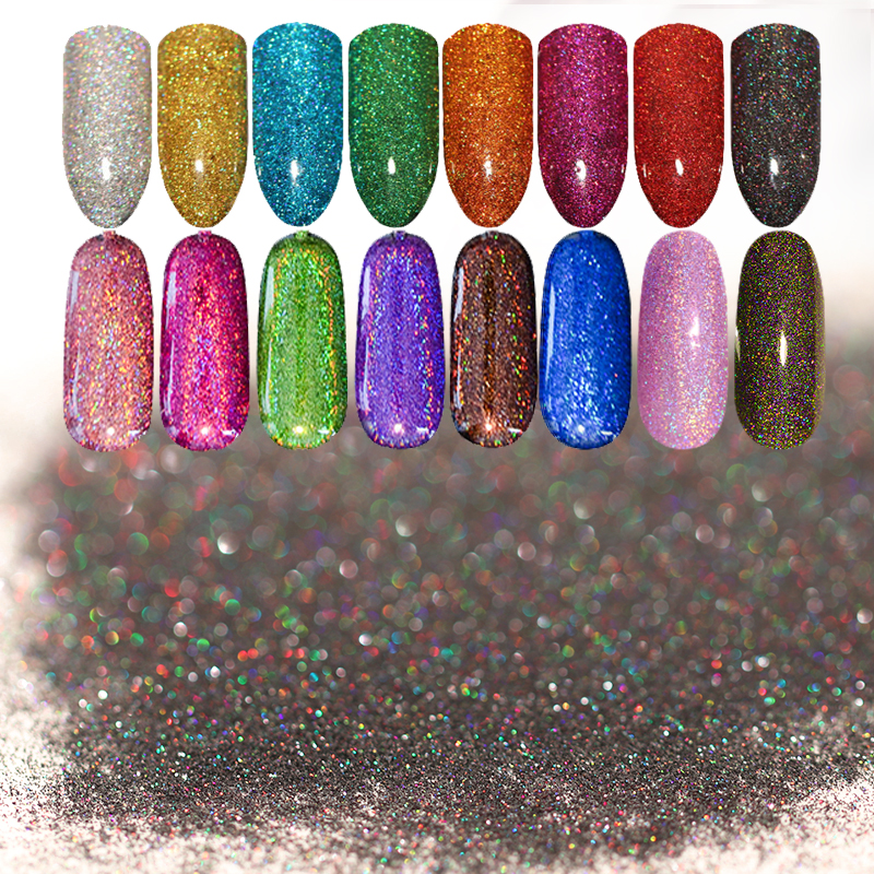 1 Box Starry Holographic Laser Nail Glitter Powder Ultra-thin Shining Pigment Dust Powder Manicure Nail Art Glitter 28 Colors