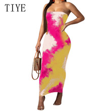 TIYE Strapless Off Shoulder Sexy Women Dress Fashion Vintage Straight Long Bodycon Backless Casual Summer Party Dresses