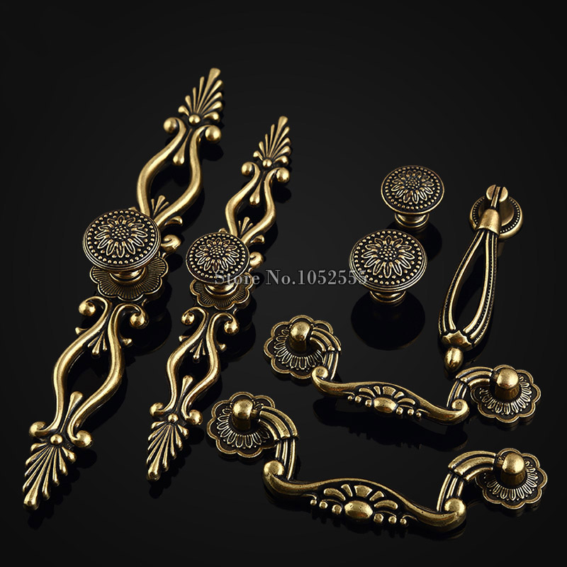 High Quality 20PCS European Classic Antique Furniture Handles Drawer Wardrobe Cabinet Cupboard Door Knobs and