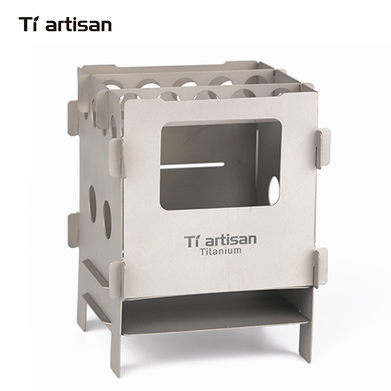 Tiartisan Outdoor Camping Hiking Ultralight Titanium Wood Stove Multi-Fuels BBQ Stove