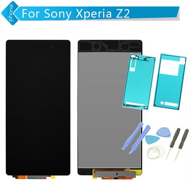 Pantalla lcd para sony xperia z2 l50w d6502 d6503 pantalla táctil de la asamblea digitalizador + herramientas + adhesivas pegatinas envío libre