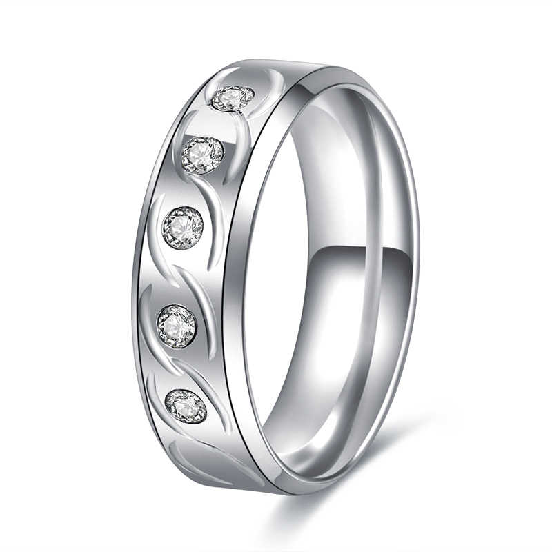 CACANA  Silver Color Stainless Steel Jewelry Fashion Stainless Steel Engagement Rings R228