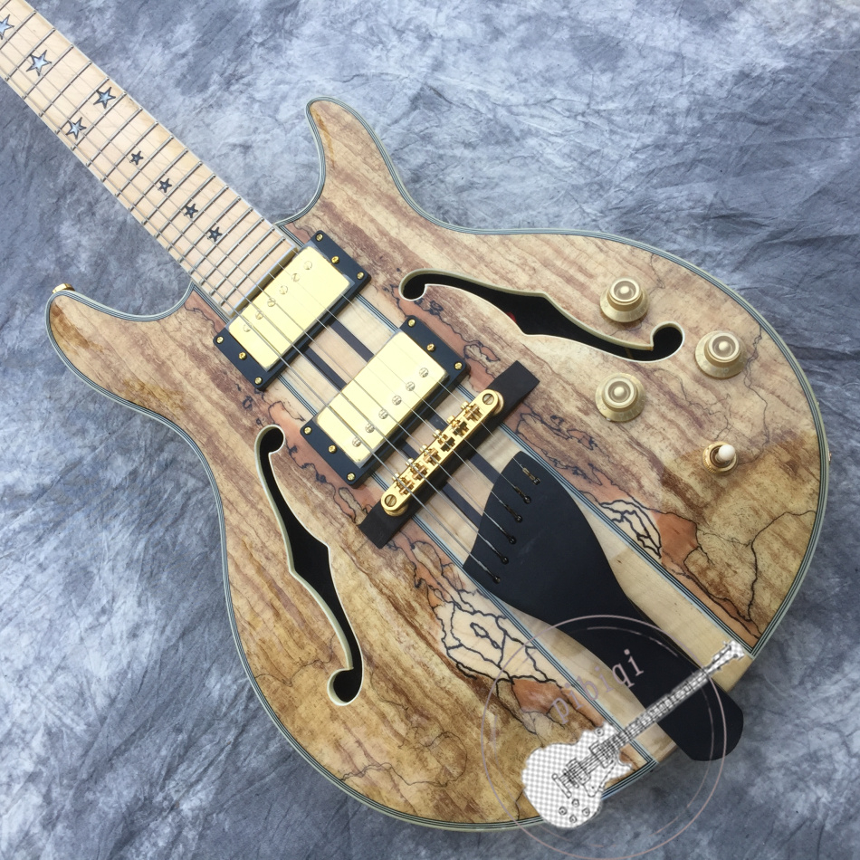 Livraison gratuite, guitare électrique personnalisée haut de gamme, corps semi-creux en bois naturel, tête et voiture en tant que morceau de bois, personnalisable.