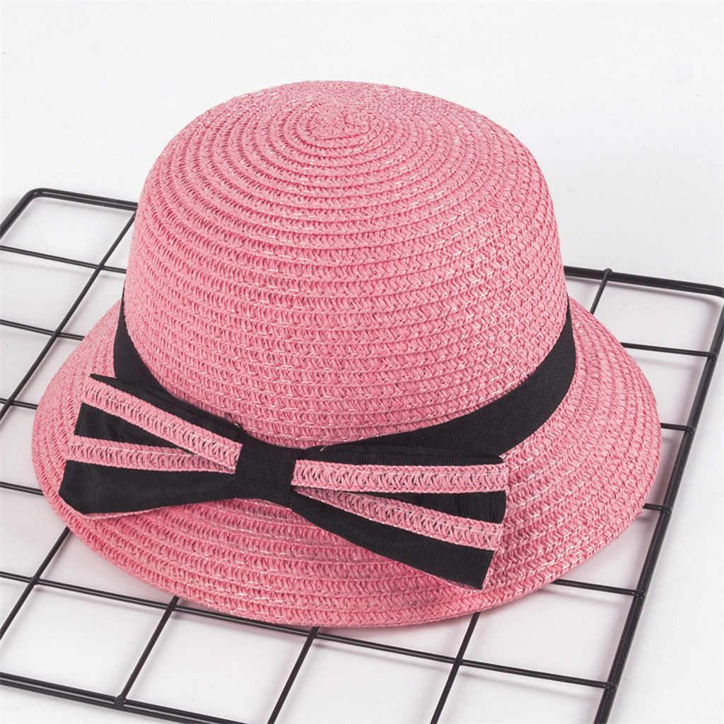 3-5 ปีเด็กหญิงหมวก Bowknot หมวกเด็กขนาดใหญ่ Brim Beach ฤดูร้อน Boater ชายหาดริบบิ้นรอบแบน Top beach หมวกเด็ก
