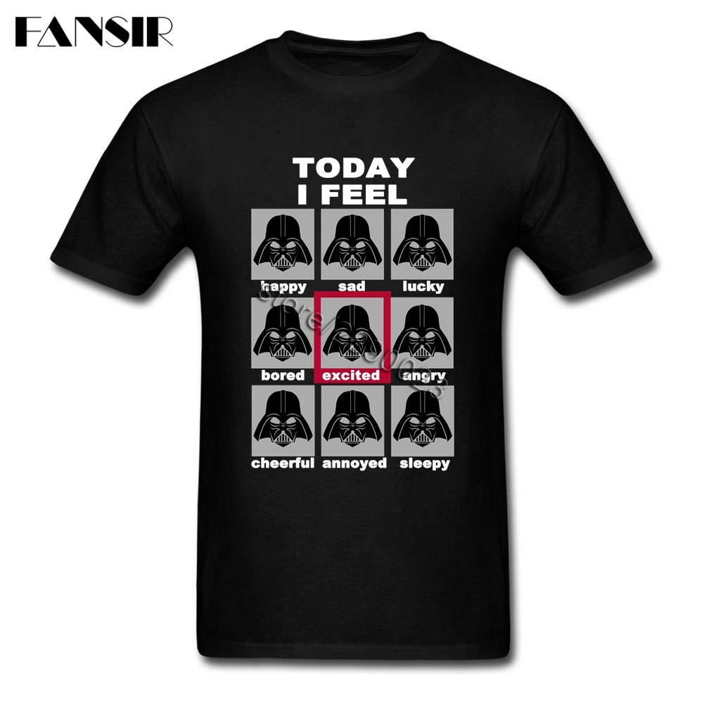Men Tshirts Plain White Short Sleeve Custom Tshirt For Men Darth Vader Mood Chart Star Wars Guys Clothes