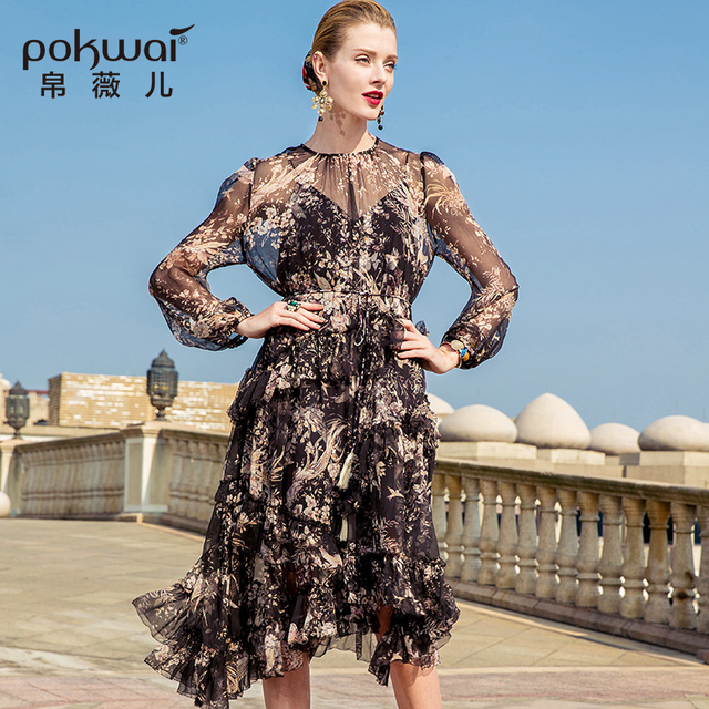POKWAI Long Casual Floral Sheath Women Summer Silk Dress 2018 New Arrival  Fashion O-Neck Three Quarter Sleeve Ruffles Dresses