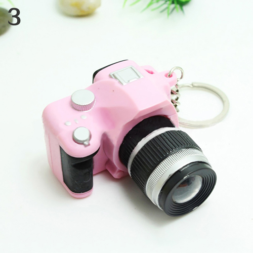 Cute Mini Digital Single Lens Reflex DSLR Camera Style LED Flash Light Keychain