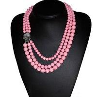 Wysokiej klasy różowy sztuczne coral kule 3 wiersze naszyjnik zapięcie powłoki eleganckie kobiety hot sprzedaż biżuteria 17-19 cal B2917