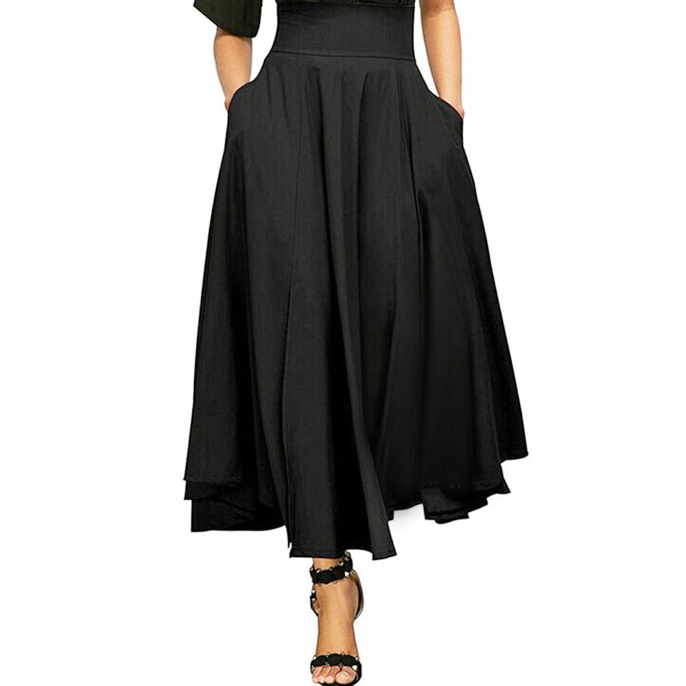 New Women High Waist Pleated A Line Long Skirt Front Slit Belted Maxi S-XXL high elasticity pleated skirts