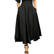 купить New Women High Waist Pleated A Line Long Skirt Front Slit Belted Maxi Skirt S-XXL high elasticity pleated skirts по цене 700.16 рублей