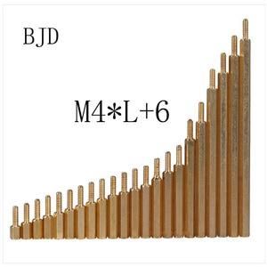 50Pcs M4*L+6mm Hex head Brass