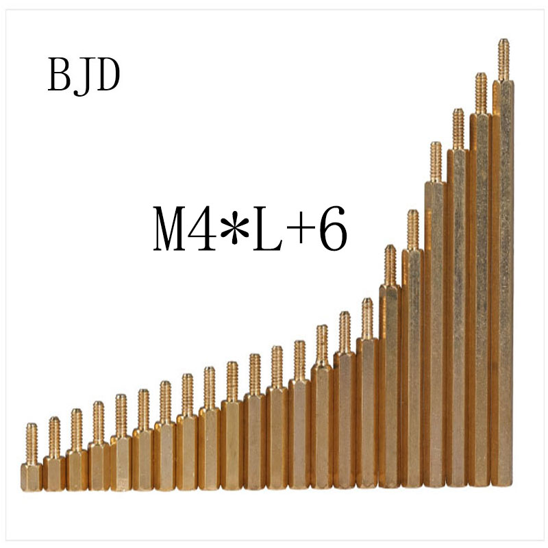 50Pcs <font><b>M4</b></font>*L+6mm Hex head <font><b>Brass</b></font> Spacing Screws Threaded Pillar PCB Computer PC Motherboard <font><b>StandOff</b></font> Spacer HW040 image