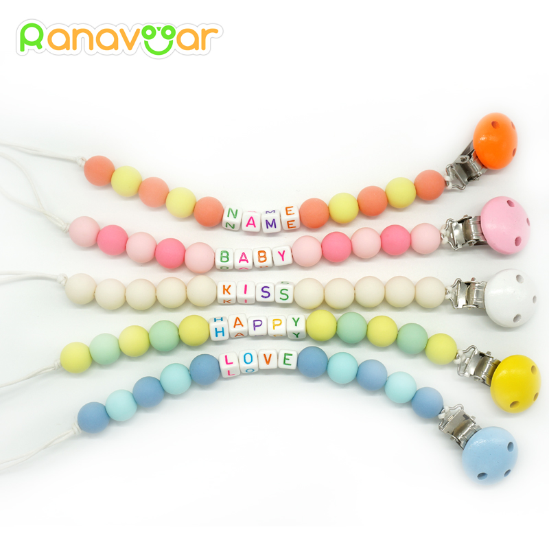 Personalised- Any Name Pacifier Clips Gift Dummy Handmade Pacifier Chain Holder Baby Nipple Feeding Garment Wooden Clip NZL04