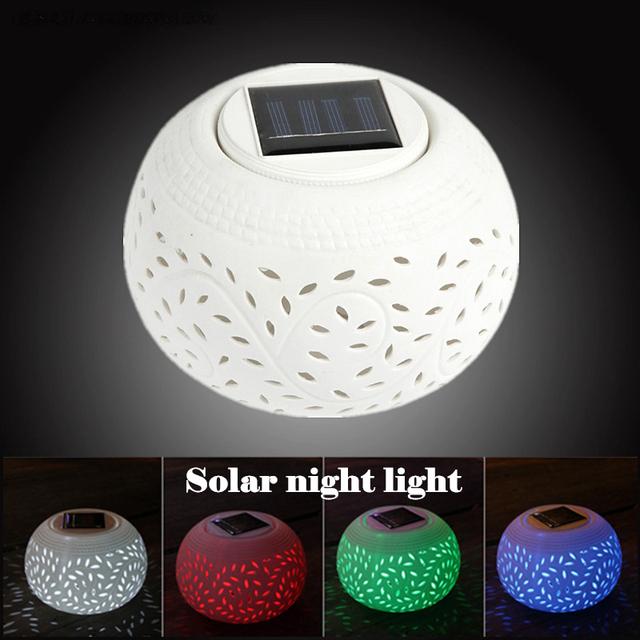 Cerâmica luz solar rgb levou à prova d' água solar da lâmpada led night light mudando a cor do LED de poupança de energia da lâmpada do projetor