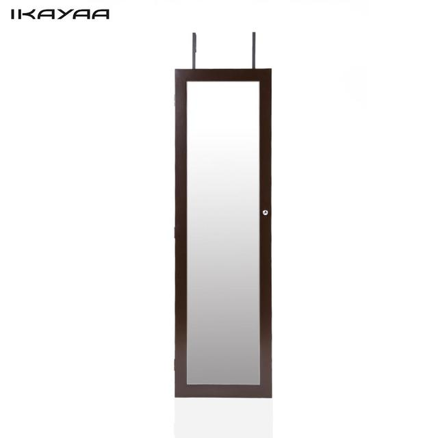 Bon IKayaa US Stock Fashion Mirrored Hanging Over The Door Jewelry Armoire  Cabinet Wall Mounted Jewelry Storage