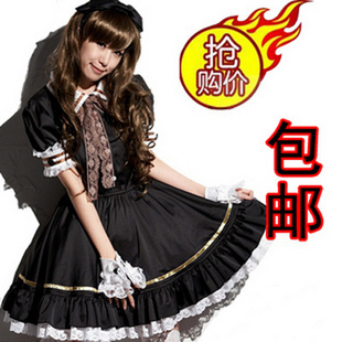 Free Shipping Cheap Black and white Lolita Maid Anime cosplay Clothes costume Halloween Dress