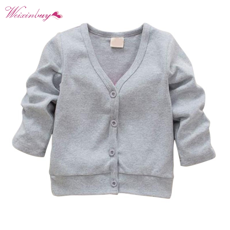 Factory Price! 0-3Y Baby Kid Clothing V-neck Cardigan Thick Cotton Jacket Coat