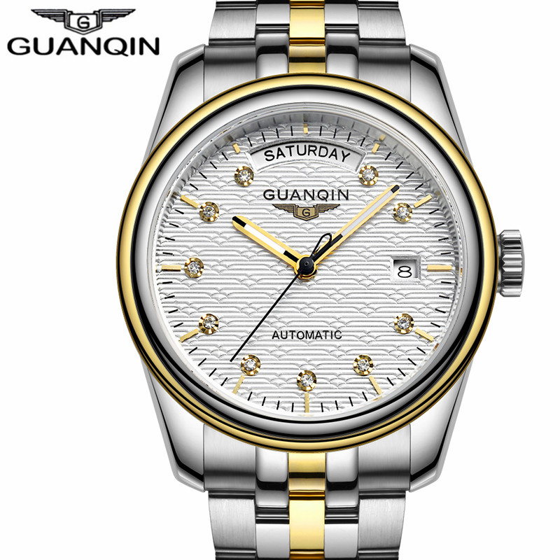 Mens Watches Top Brand Luxury GUANQIN Automatic Date Week Mechanical Watches Gold Stainless Steel Wristwatch Relogio Masculino 2017 new sale mechanical man watch relogio masculino gold white watchband automatic date week movt waterproof mans wristwatches