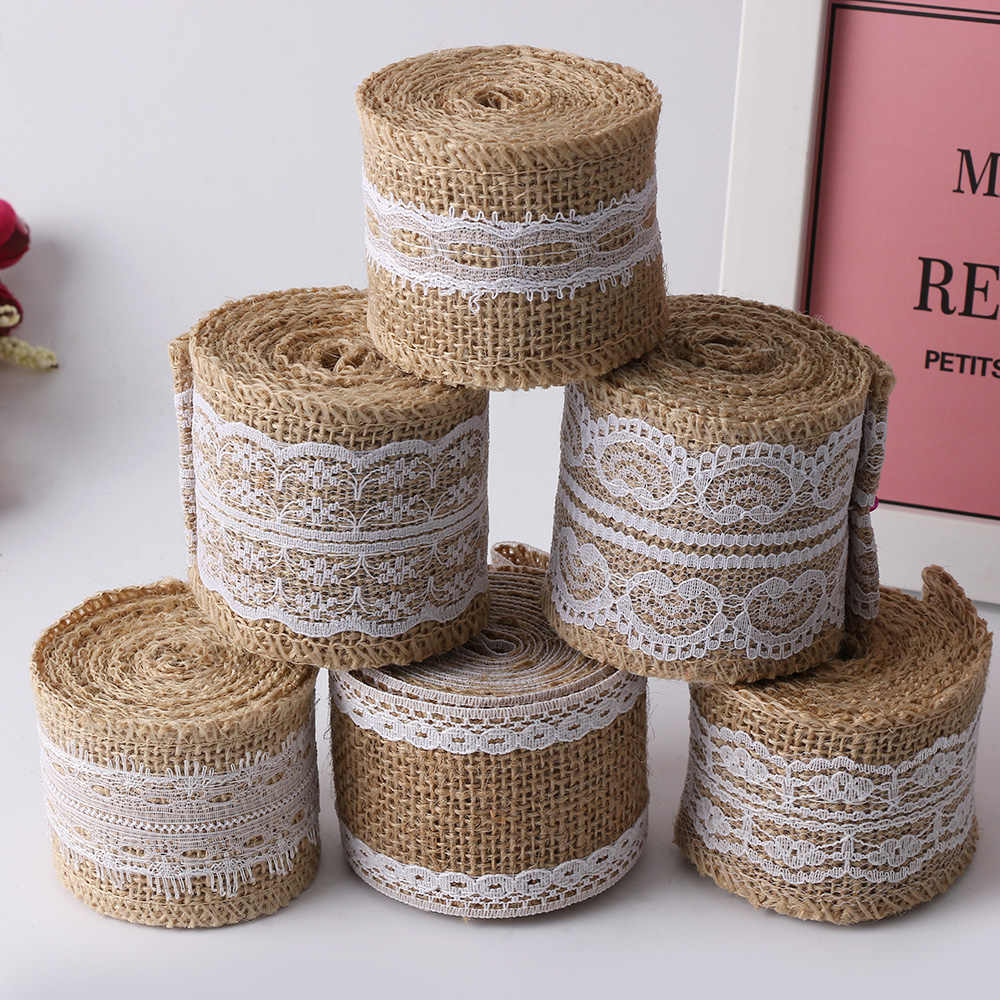 1PC Roll Vintage Rustic Mariage Ribbon Nice 2M Natura Jute Burlap Hessian Ribbon with Lace Trims Tape Wedding Supplies DIY Craft