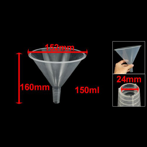 Affordable 150ml Clear White Plastic Filter Funnel