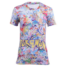 Hot Sales Character Fleece Funny Classic Cartoon Pokemon Pikachu Print Cute T shirt Women Anime Tees Fashion Casual Top