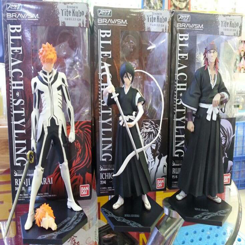 Anime model set figure BLEACH Kurosaki ichigo & Kuchiki Rukia & Abarai Renji 3 pcs/set boxed toy figures 18cm PVC T7969 4pcs set bleach kurosaki ichigo kuchiki byakuya pvc action figure model toy doll bl014