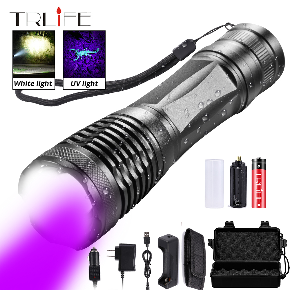 2in1 UV Flashlight LED Tactical Torch Linternas 395nm Ultraviolet Urine Detector For Camping Pet Urine Catch Scorpions