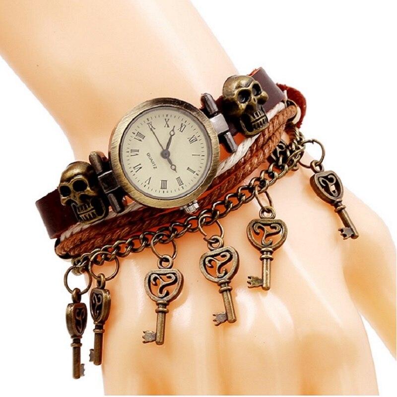 Gnova Platinum Top Genuine Leather Bracelet Quartz Watch Bronze Skulls Small Keys charm Chain Fashion Punk Wristwatch A916