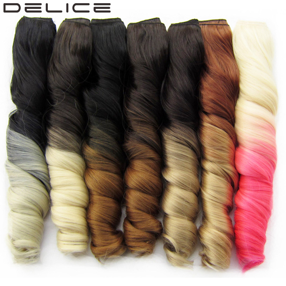 DELICE 24 Inch Womens Clip-in One Piece Long Curly Black To Pink Ombre Heat Resistance Synthetic Hair Extensions Hairpiece