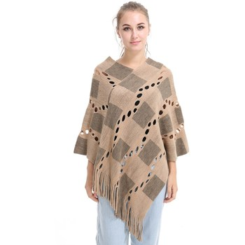 Spring Summer Women Hollow Out Sweater Knitted Tassel Shawl Poncho And Capes Ladies Long Size Cardigan Sweaters Coat 2