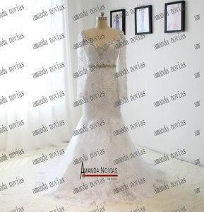 Image 4 - Echt Fotos V ausschnitt Langarm Spitze Strass Kristall Hochzeit Kleid Mit Abnehmbaren Rock
