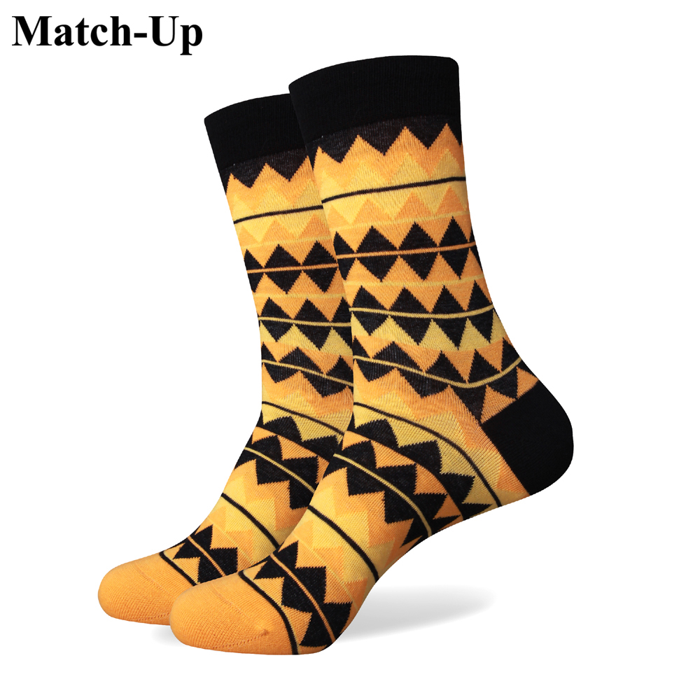 Match-Up New Men Colorful Combed Cotton Socks Blank And Yellow Color Brand Socks