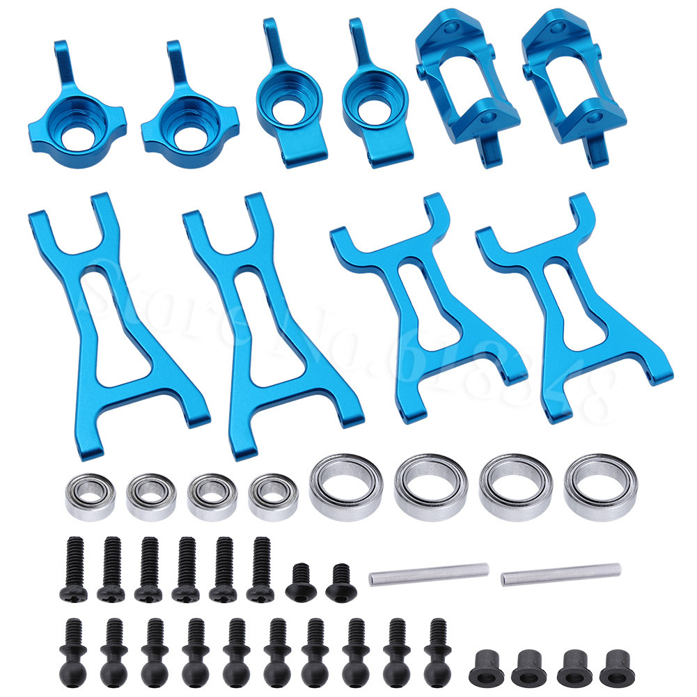 Aluminum Front Rear Steering Hub Base C Carrier & Front  Rear Lower Suspension Arm Upgrade Kit For Wltoys A959 RC Car Buggy Part complete aluminum arm set include front upper arm front lower arm and rear lower arm fit for kyosho mp7 5 inferno gt2 ve