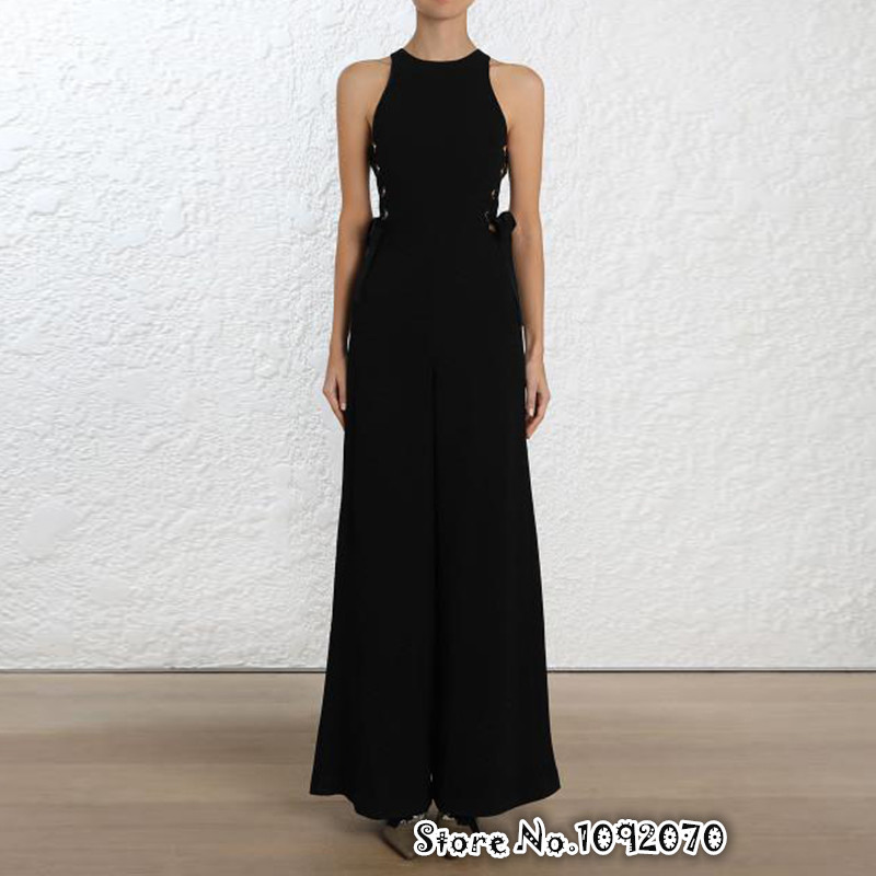 Для женщин Roundneck Sleeveless Lace Up широкими штанинами разрез front Sheath с завязками по бокам и люверсами акценты Playsuit