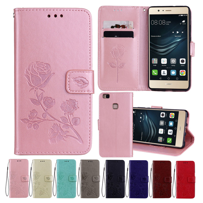 Leather Case For Huawei P9 Lite Cases Wallet Cover Flower Design Phone Case for Huawei P9 Lite in Wallet Cases from Cellphones Telecommunications