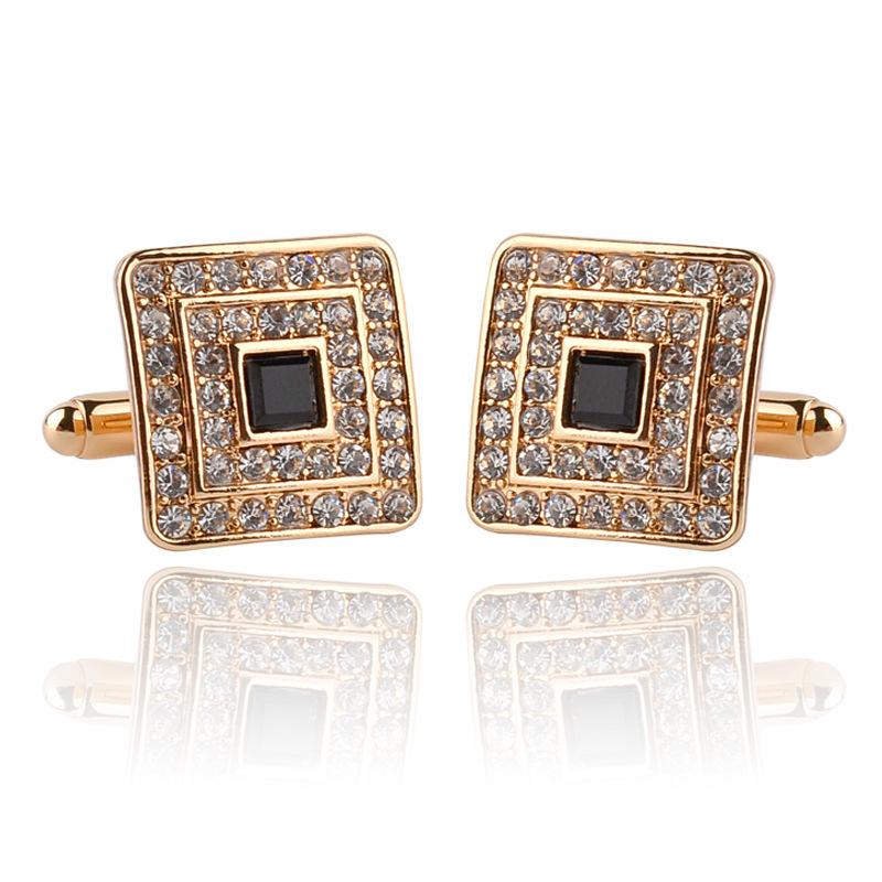Luxury Shirt Cufflinks For Men New French Rhinestone Zirconia Paved Cuff Links Business Suits Decoration Square Sleeve Buttons