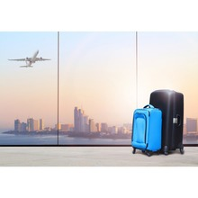Laeacco Plane City Luggage French Window Trip Viewhouse Child Portrait Photography Backdrop Photographic Background Photo Studio