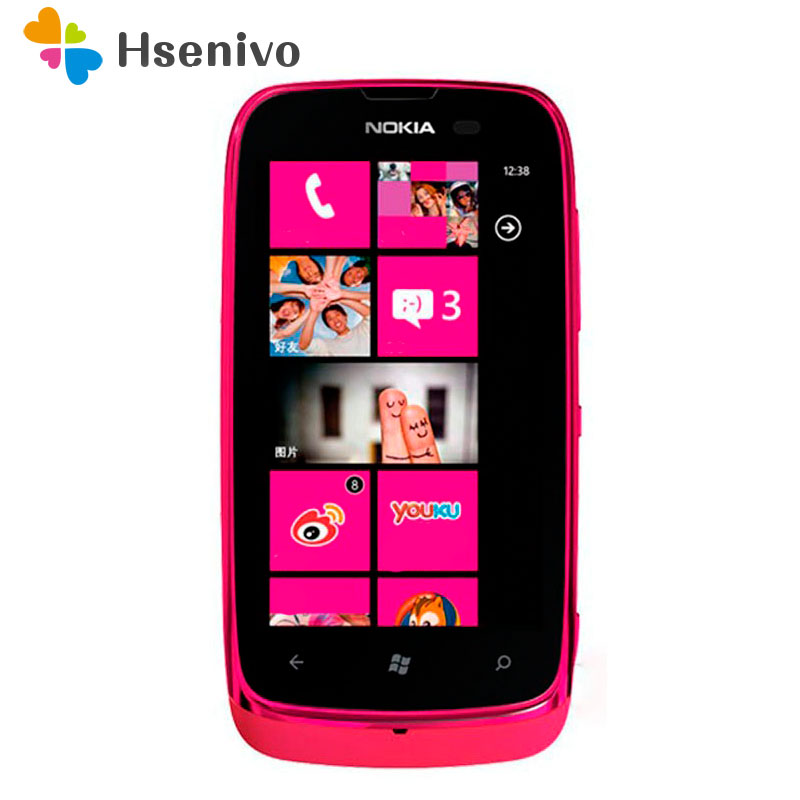 610 Unlocked Original <font><b>Nokia</b></font> Lumia 610 Windows Mobile <font><b>Phone</b></font> 8GB Storage <font><b>Camera</b></font> 5.0MP GPS Wifi 3G cell <font><b>phone</b></font> Free shipping image