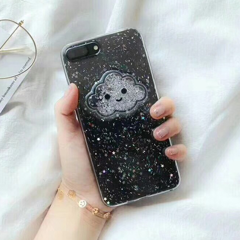Cute Glitter Powder Smile Face Clouds Mobile Phone Case For iPhone X Soft TPU Dynamic Beads Back Cover For iphone 6 6s 7 8 Plus Case (2)