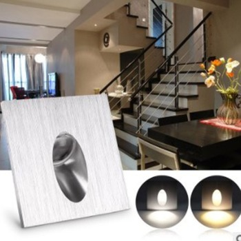 1W/3W Indoor Stair Corridor Step Embedded Square Led Footlights Aluminum Alloy Corner Light image