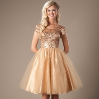 Gold Sequins Tulle Short Modest Prom Dresses 2019 Cap Sleeves A line Knee Length Juniors Cocktail Prom Party Dresses Fast Ship