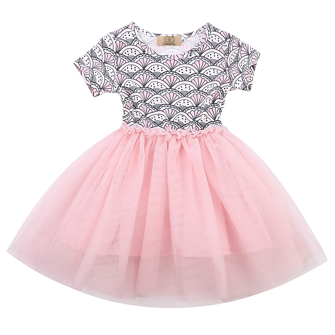 Baby Girls Dress 2017 Sweet Princess Gauze Baby Kids Girl Dress Shell Polka Dot Lace Tulle Tutu Party Dresses 1-6Y