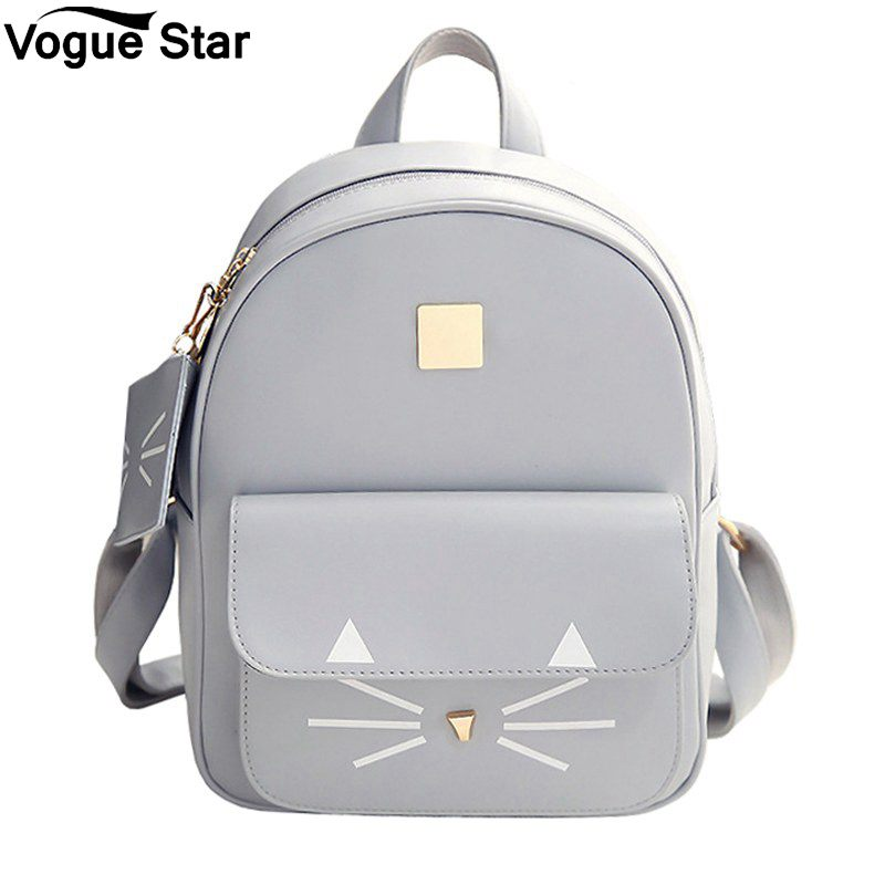 Women School Bags For Teenage Girls Bags Children Backpack Bag Hot Sale Cat Printing Backpack PU Leather Mini Backpacks M54